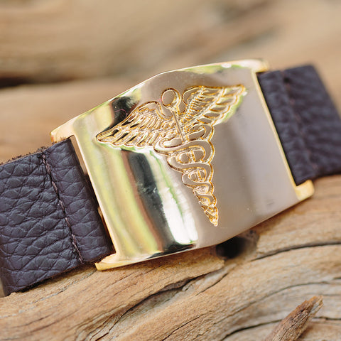 Leather Cuff Bracelet with 14K Yellow Gold Plated Medical Alert