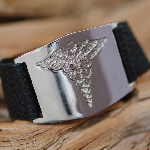 Leather Cuff Bracelet with 14K White Gold Plated Medical Alert