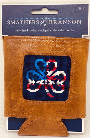 Smathers & Branson Needle Point Leather  Koozie