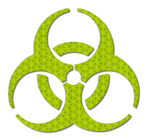 Hi viz yellow reflective biohazard decal
