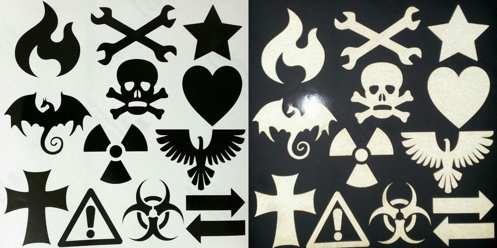 "Full 12""X12"" Sheet of Assorted Reflective Decals"