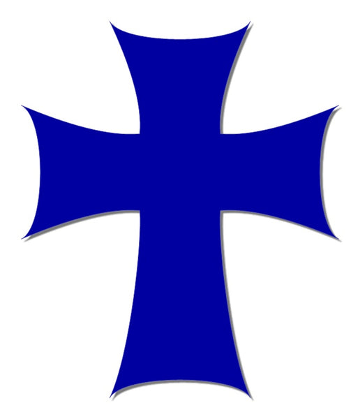 Blue reflective cross decal