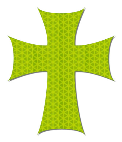 Hi viz yellow reflective cross decal