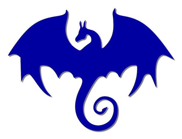 Blue reflective dragon decal