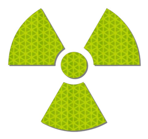 Hi viz yellow reflective radioactive decal
