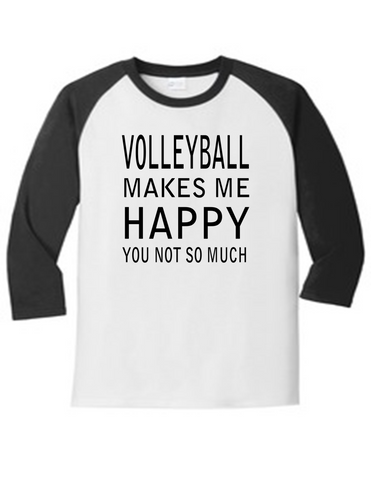 Volleyball Makes Me Happy 5700 Raglan Men's Funny T Shirt Humorous
