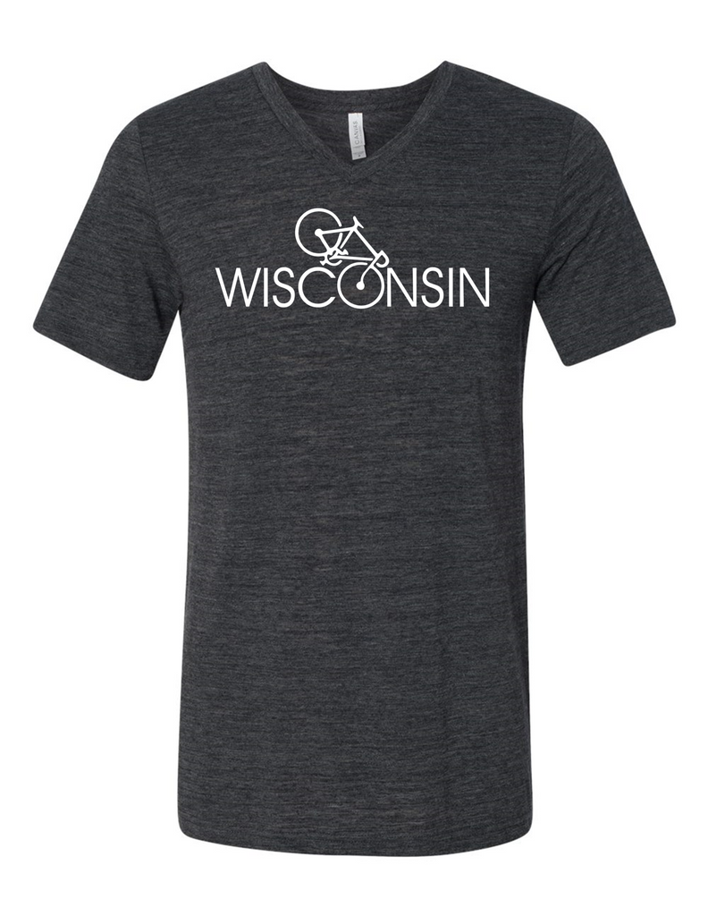 Wisconsin Bicyclist 3005 Premium V-Neck Men's Funny T-Shirt Humorous T