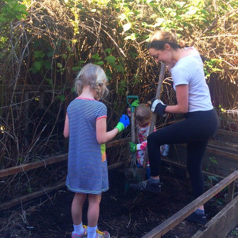 River, Sophie and Taylor planting radishes!