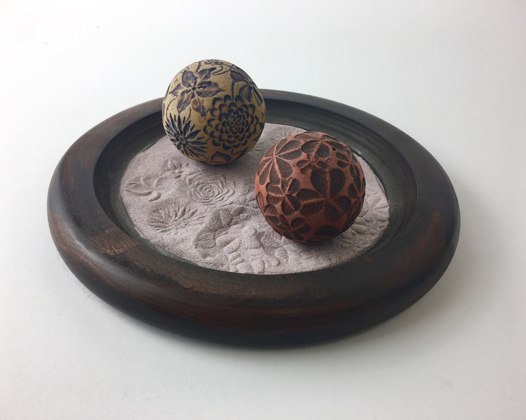 "Staff Pick of the Week by Emma - Custom Mahogany 9"" Wooden Tray w/ Flowers and Clover Spheres"