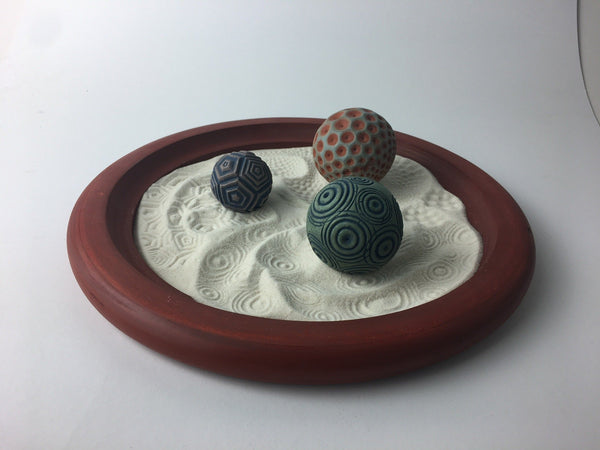"Staff Pick of the Week by Amanda - Custom Red 12"" Wooden Tray w/ Penta, Seeds and Ripples Spheres"