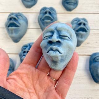 Blue Kiss | Hanging Concrete Face
