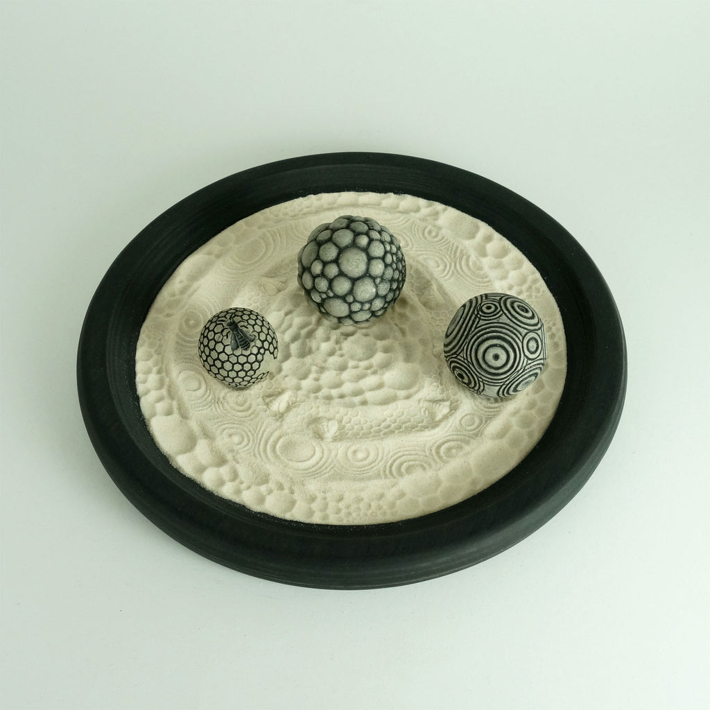 "Desktop Zen Garden, The Life Package: 12"" Circular Wooden Tray w/Sand & 3 Spheres"