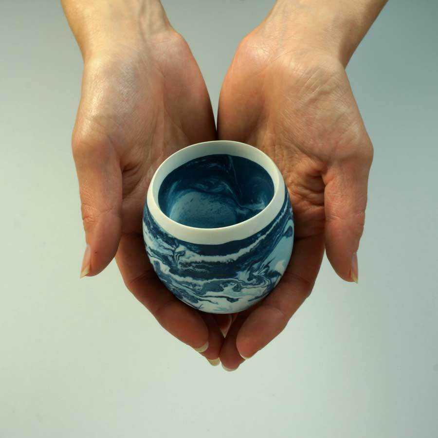 Artisan Made Egg-Shaped Vessel | Ocean | Small