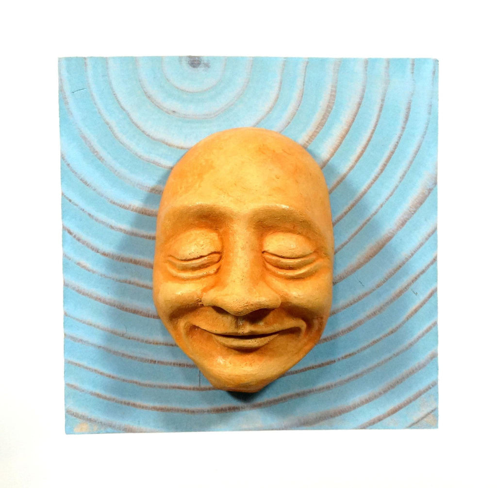 Unique Wall-Hanging Sculpture | Bliss Face on End Grain Board