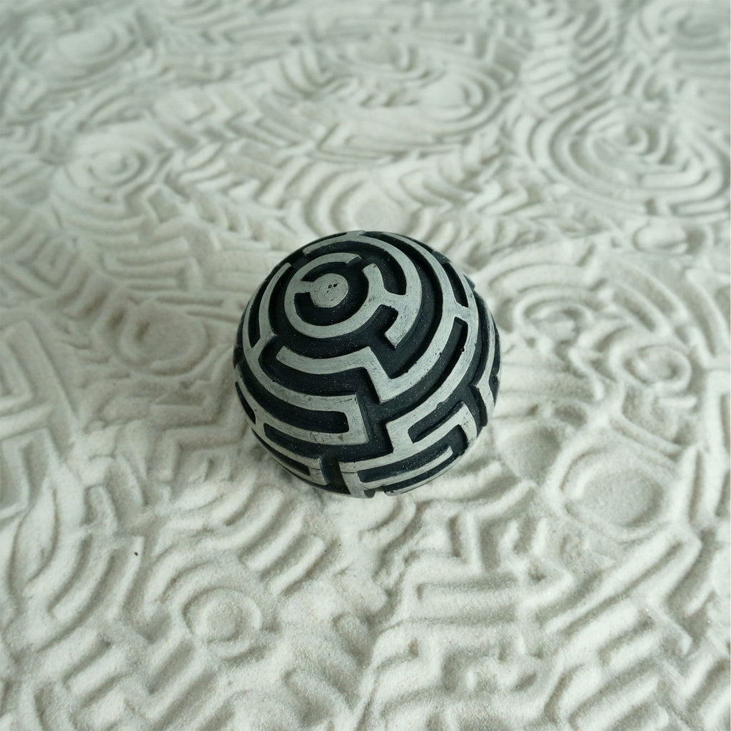 Textured Cement Sand Sphere for Sand Play: Maze Design