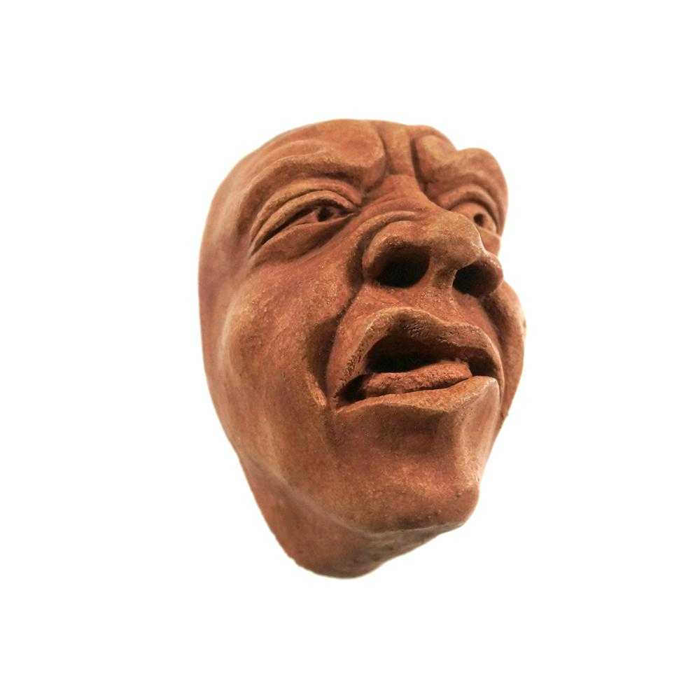 Wall-Hanging Sculpture | Terra Cotta Disgusted Face