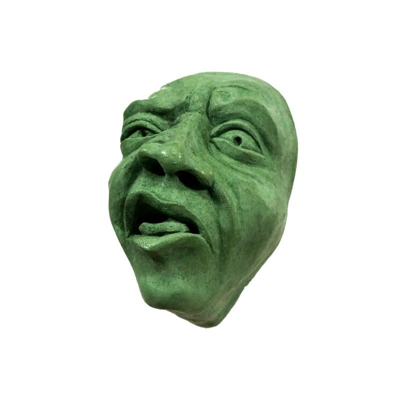 Wall-Hanging Decor | Concrete Sculpture | Disgusted Face | Green