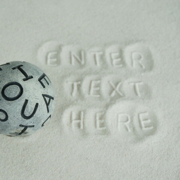 Medium Sand Play Therapy Textured Cement Sphere: Alphabet Design