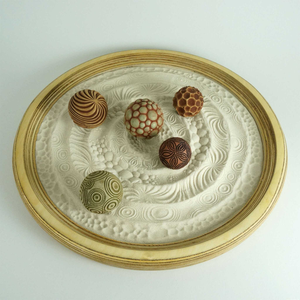 "Tabletop Modern Zen Sand Garden: Circles Package, 15"" Circular Wooden Tray, 24oz Sand & 5 Cement Spheres"