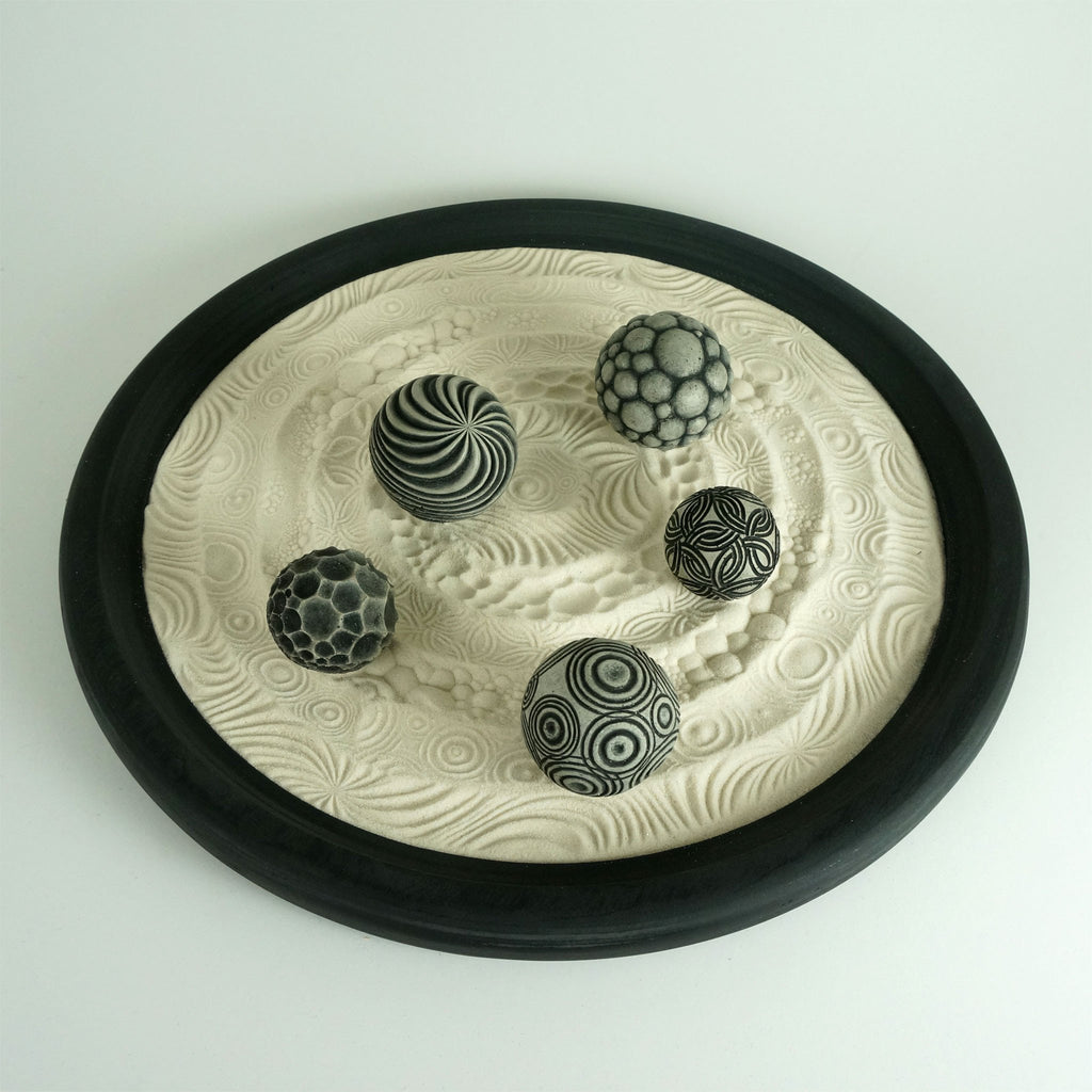 "Tabletop Modern Zen Garden: Circles Package, 15"" Circular Wooden Tray, 24oz Sand & 5 Cement Spheres"