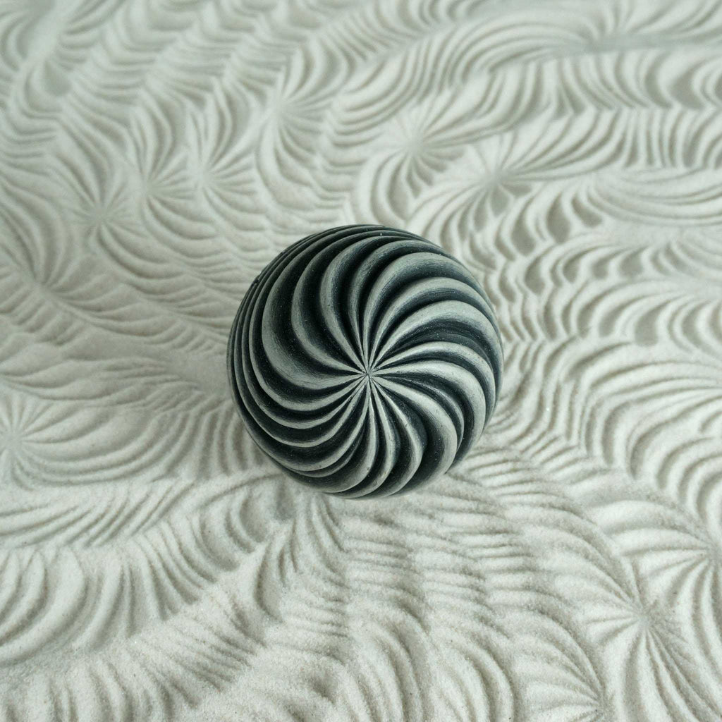 Textured Cement Sand Sphere | Swirls Design