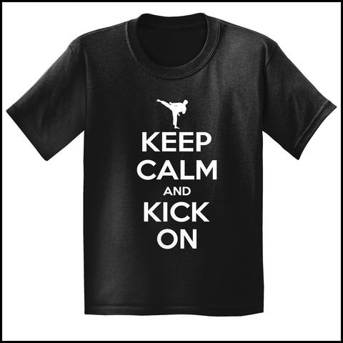 Keep Calm & Kick On!-MARTIAL ARTS T-SHIRT - Classic Design -YBSS-412 - Rhino Junction Apparel - 4