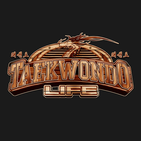 TAEKWONDO LIFE Carved in Wood- Taekwondo T-Shirt -YLST-415 - Rhino Junction Apparel - 1