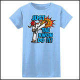 Cool Kick! - TAEKWONDO T-SHIRT FOR JUNIORS- Just Tae Kwon DO IT! Cartoon - JST431 - Rhino Junction Apparel - 3