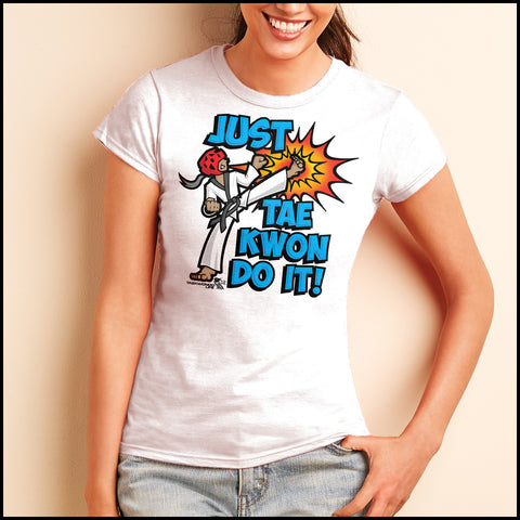 Cool Kick! - TAEKWONDO T-SHIRT FOR JUNIORS- Just Tae Kwon DO IT! Cartoon - JST431 - Rhino Junction Apparel - 2
