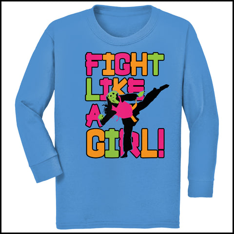Fight Like Girl!-Taekwondo Karate Kung Fu Jiu-Jitsu MMA Tshirt -YGLS434 - Rhino Junction Apparel - 2