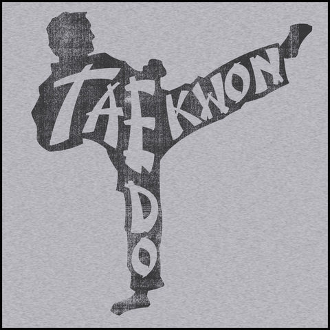 FADED TAEKWONDO T-SHIRT DESIGN-TEXT KICKER! -AWESOME TEE! -AST465 - Rhino Junction Apparel - 2