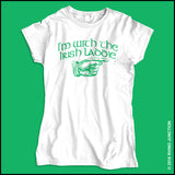 "IRISH T-SHIRT-Juniors • CUTE ST. PAT'S TEE - ""I'M WITH THE IRISH LADDIE!""-JST5503 - Rhino Junction Apparel - 4"