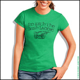 "IRISH T-SHIRT-Juniors • CUTE ST. PAT'S TEE - ""I'M WITH THE IRISH LADDIE!""-JST5503 - Rhino Junction Apparel - 2"
