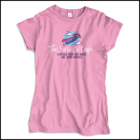 JUNIORS NURSE T-SHIRT• Nurse Cape Proves Nurses are Super Heroes! Cute! JSST-4401 - Rhino Junction Apparel - 2