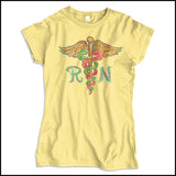 JUNIORS NURSE T-SHIRT • Colorfully Painted Brush Stroke Caduceus Design-JSST-4406 - Rhino Junction Apparel - 3