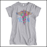 JUNIORS NURSE T-SHIRT • Colorfully Painted Brush Stroke Caduceus Design-JSST-4406 - Rhino Junction Apparel - 2