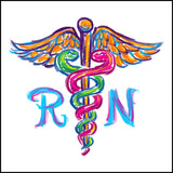 JUNIORS NURSE T-SHIRT • Colorfully Painted Brush Stroke Caduceus Design-JSST-4406 - Rhino Junction Apparel - 1