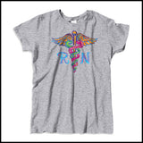 MISSY NURSE T-SHIRT • Colorfully Painted Brush Stroke Caduceus Design-MSST-4406 - Rhino Junction Apparel - 3