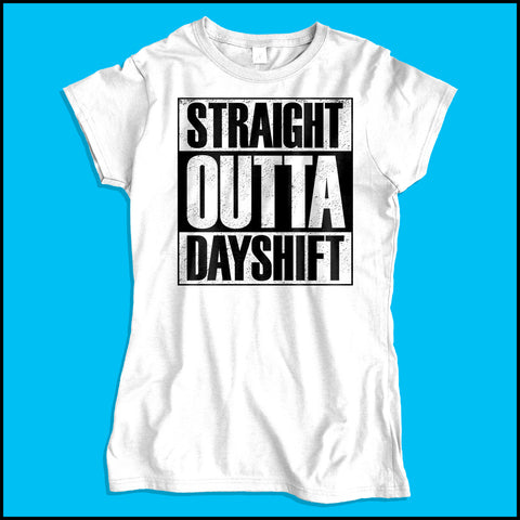 JUNIORS NURSE T-SHIRT • Straight Outta Day Shift! • Compton Parody-JSST-4409 - Rhino Junction Apparel - 3