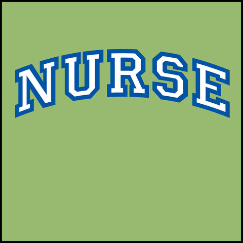 ADULT NURSE T-SHIRT • Collegiate Arched Text Nurse Tee Shirt Design-ASST-4412 - Rhino Junction Apparel - 1