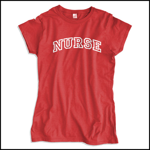 JUNIORS NURSE T-SHIRT • Collegiate Arched Text Nurse Tee Shirt Design-JSST-4412 - Rhino Junction Apparel - 2