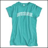 JUNIORS NURSE T-SHIRT • Collegiate Arched Text Nurse Tee Shirt Design-JSST-4412 - Rhino Junction Apparel - 3
