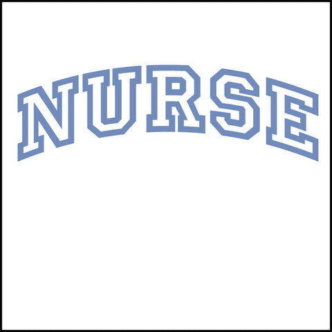 JUNIORS NURSE T-SHIRT • Collegiate Arched Text Nurse Tee Shirt Design-JSST-4412 - Rhino Junction Apparel - 1