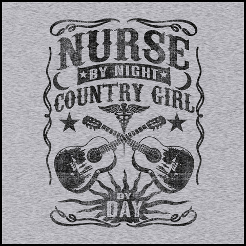 ADULT NURSE T-SHIRT •Nurse by Night-Country Girl by Day! FREE SHIPPING- ASST-4414 - Rhino Junction Apparel - 1