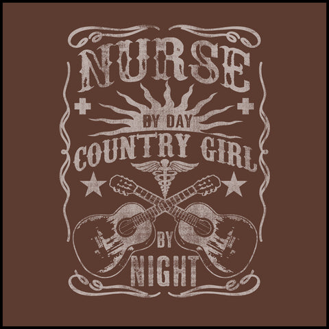 ADULT NURSE T-SHIRT • Nurse by Day-Country Girl by Night! •Nurse Tee-ASST-4415 - Rhino Junction Apparel - 1