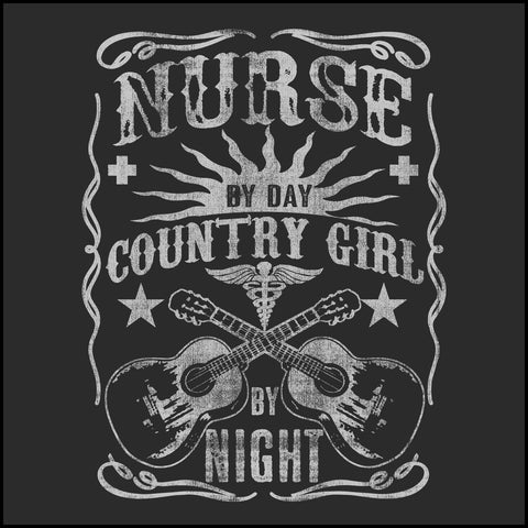 JUNIORS NURSE T-SHIRT • Nurse by Day-Country Girl by Night! •Nurse Tee-JSST-4415 - Rhino Junction Apparel - 1
