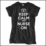 JUNIORS NURSE T-SHIRT • KEEP CALM and NURSE ON• Free Shipping!-JSST-4419 - Rhino Junction Apparel - 2