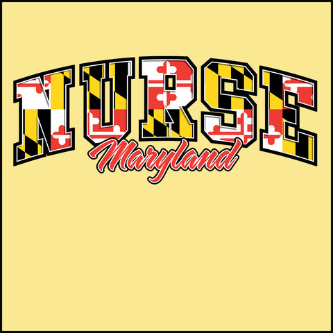 JUNIORS NURSE T-SHIRT • Arched MARYLAND NURSE text with MD Flag • JSST-4422 - Rhino Junction Apparel - 1