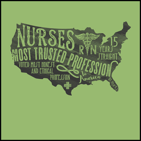 ADULT NURSE T-SHIRT • Nurses-The Most Trusted Profession Tee- ASST-4424 - Rhino Junction Apparel - 1