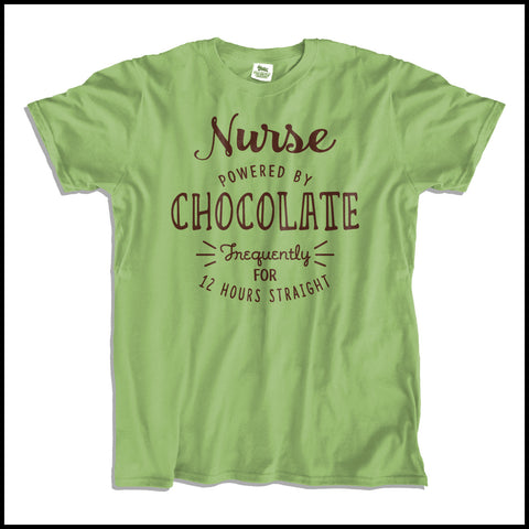 ADULT NURSE T-SHIRT • NURSE: POWERED BY CHOCOLATE! • Free Shipping! - ASST-4428 - Rhino Junction Apparel - 2